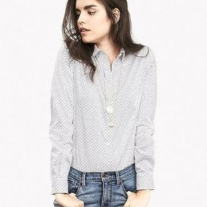 Banana Republic Non-Iron White Print Shirt 4 NWT